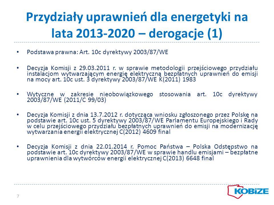 Przydziały uprawnień dla energetyki na lata 2013-2020 – derogacje (1)