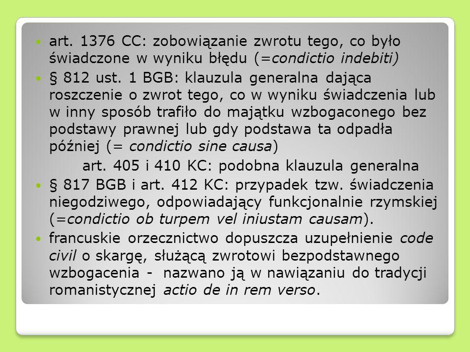 art. 1376 CC: zobowiązanie zwrotu tego, co było świadczone w wyniku błędu (=condictio indebiti)