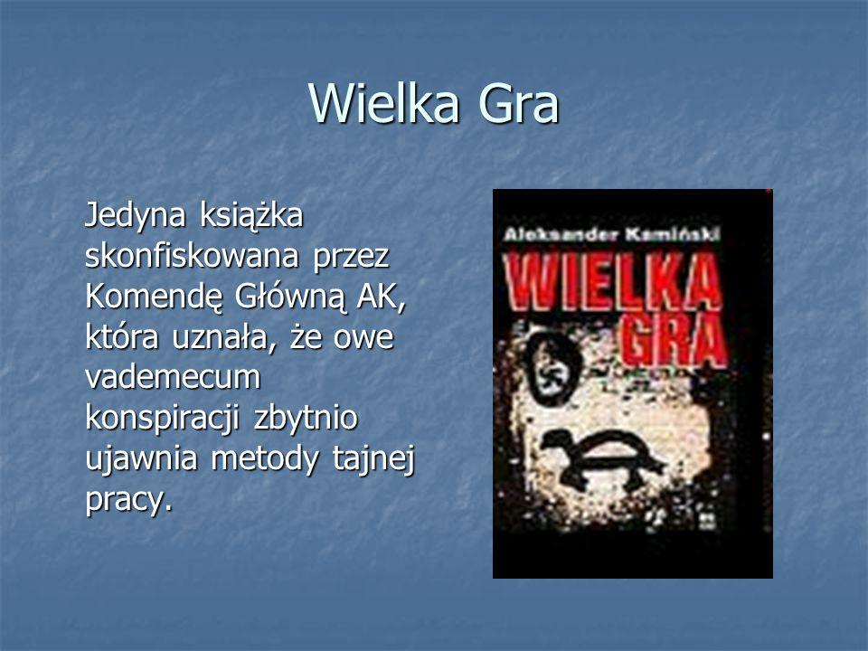 Wielka Gra Jedyna książka skonfiskowana przez Komendę Główną AK, która uznała, że owe vademecum konspiracji zbytnio ujawnia metody tajnej pracy.