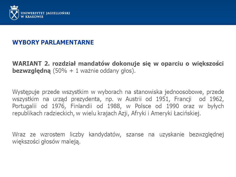 WYBORY PARLAMENTARNE WARIANT 2. rozdział mandatów dokonuje się w oparciu o większości bezwzględną (50% + 1 ważnie oddany głos).
