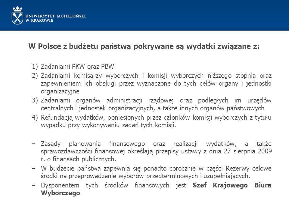W Polsce z budżetu państwa pokrywane są wydatki związane z: