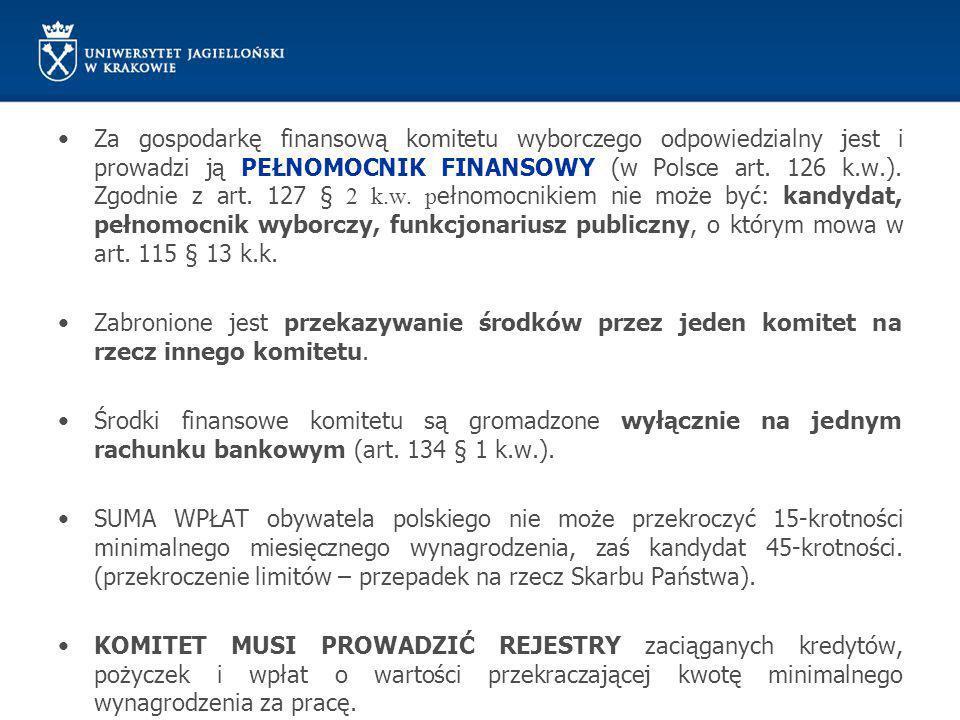 Za gospodarkę finansową komitetu wyborczego odpowiedzialny jest i prowadzi ją PEŁNOMOCNIK FINANSOWY (w Polsce art. 126 k.w.). Zgodnie z art. 127 § 2 k.w. pełnomocnikiem nie może być: kandydat, pełnomocnik wyborczy, funkcjonariusz publiczny, o którym mowa w art. 115 § 13 k.k.