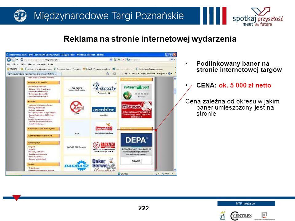 Reklama na stronie internetowej wydarzenia