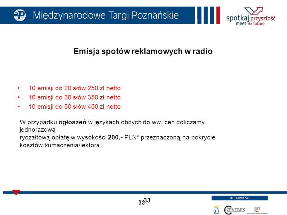 Emisja spotów reklamowych w radio
