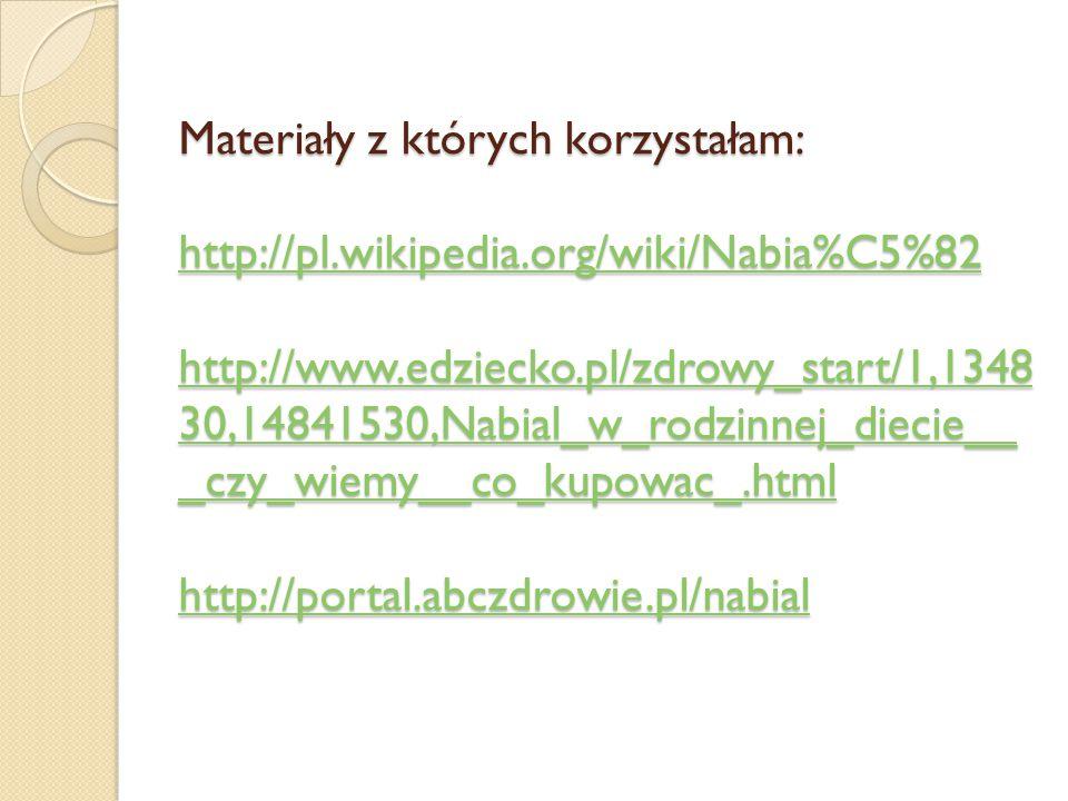 Materiały z których korzystałam: http://pl. wikipedia