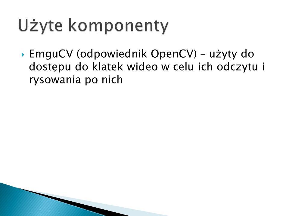 Użyte komponenty EmguCV (odpowiednik OpenCV) – użyty do dostępu do klatek wideo w celu ich odczytu i rysowania po nich.