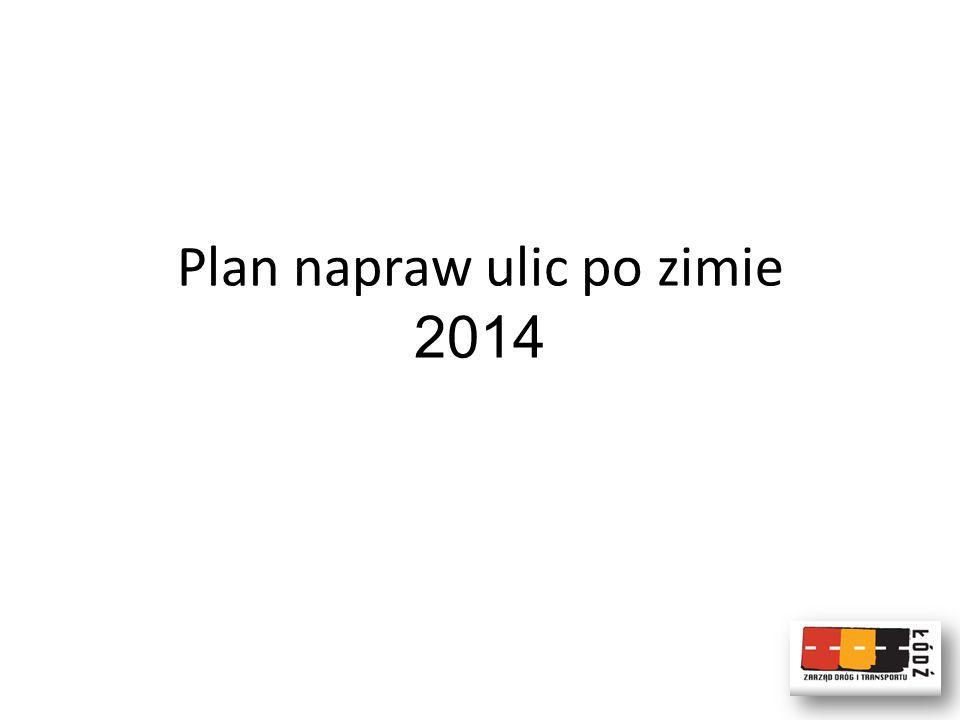 Plan napraw ulic po zimie 2014