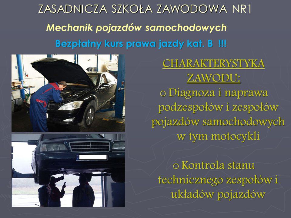 Mechanik pojazdów samochodowych Bezpłatny kurs prawa jazdy kat. B !!!