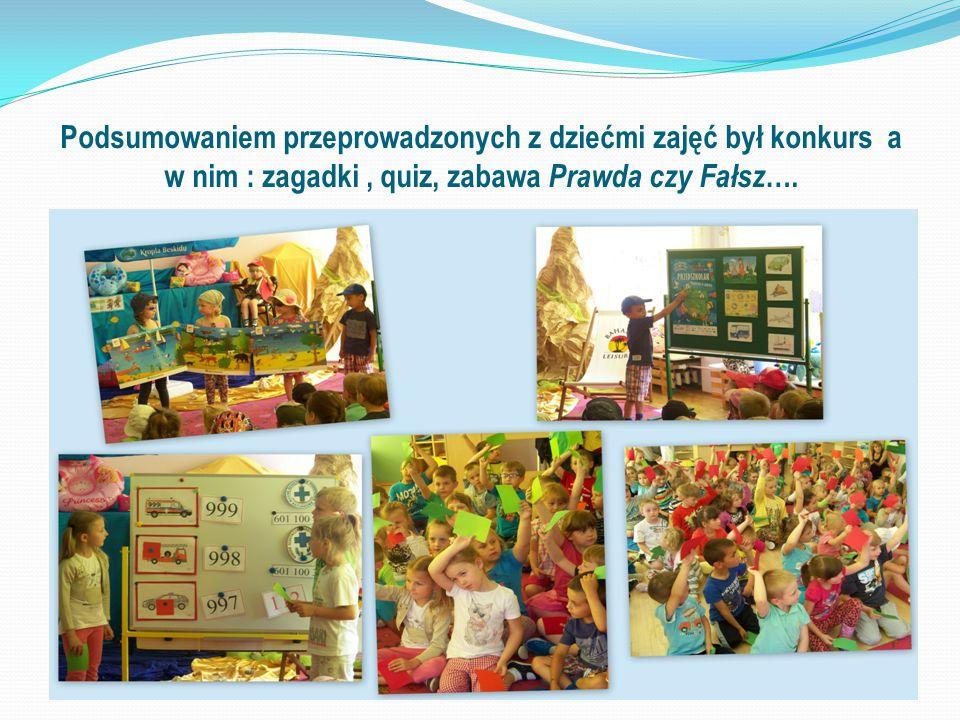 Podsumowaniem przeprowadzonych z dziećmi zajęć był konkurs a w nim : zagadki , quiz, zabawa Prawda czy Fałsz….