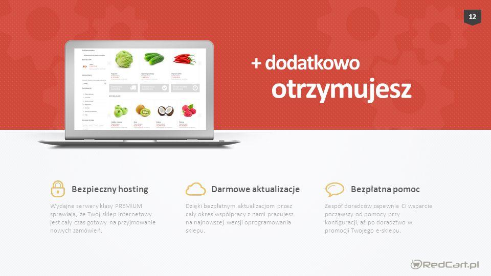 otrzymujesz + dodatkowo Bezpieczny hosting Darmowe aktualizacje
