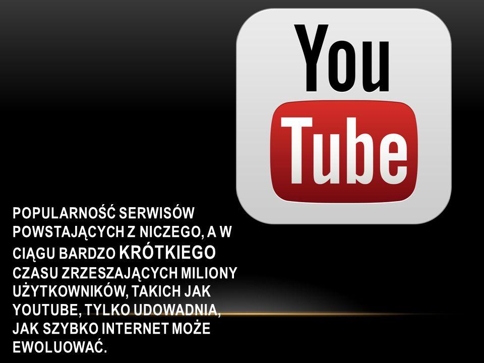 Popularność serwisów powstających z niczego, a w ciągu bardzo krótkiego czasu zrzeszających miliony użytkowników, takich jak YouTube, tylko udowadnia, jak szybko Internet może ewoluować.