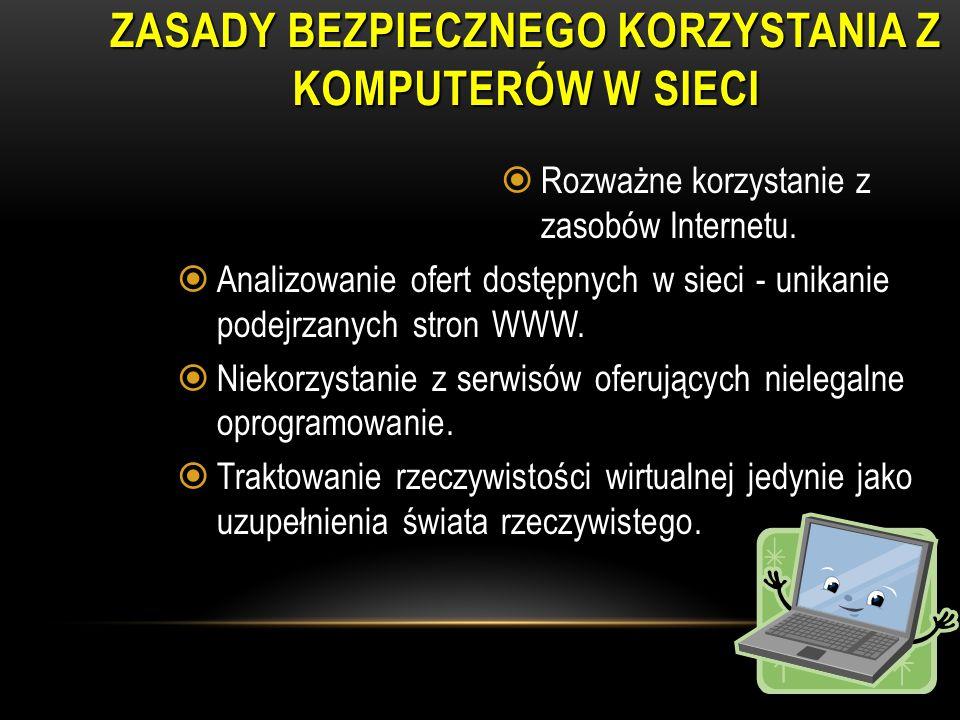Zasady bezpiecznego korzystania z komputerów w sieci