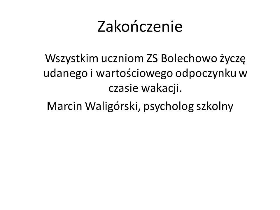 Zakończenie Wszystkim uczniom ZS Bolechowo życzę udanego i wartościowego odpoczynku w czasie wakacji.