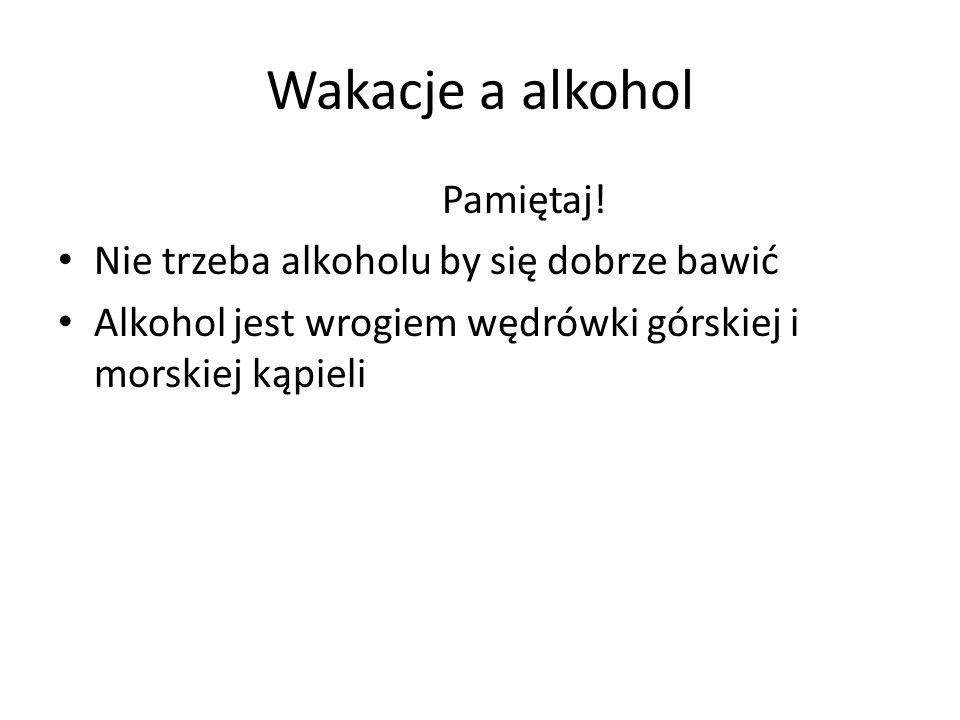 Wakacje a alkohol Pamiętaj! Nie trzeba alkoholu by się dobrze bawić