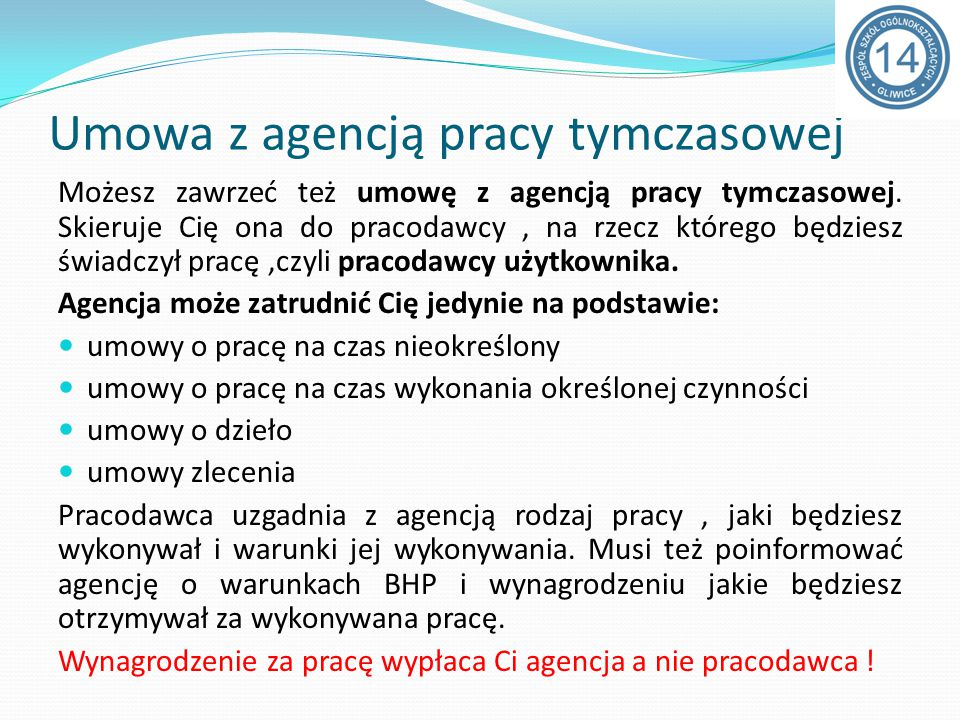 Umowa z agencją pracy tymczasowej