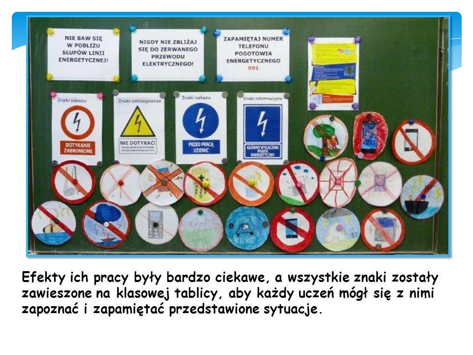 Efekty ich pracy były bardzo ciekawe, a wszystkie znaki zostały zawieszone na klasowej tablicy, aby każdy uczeń mógł się z nimi zapoznać i zapamiętać przedstawione sytuacje.