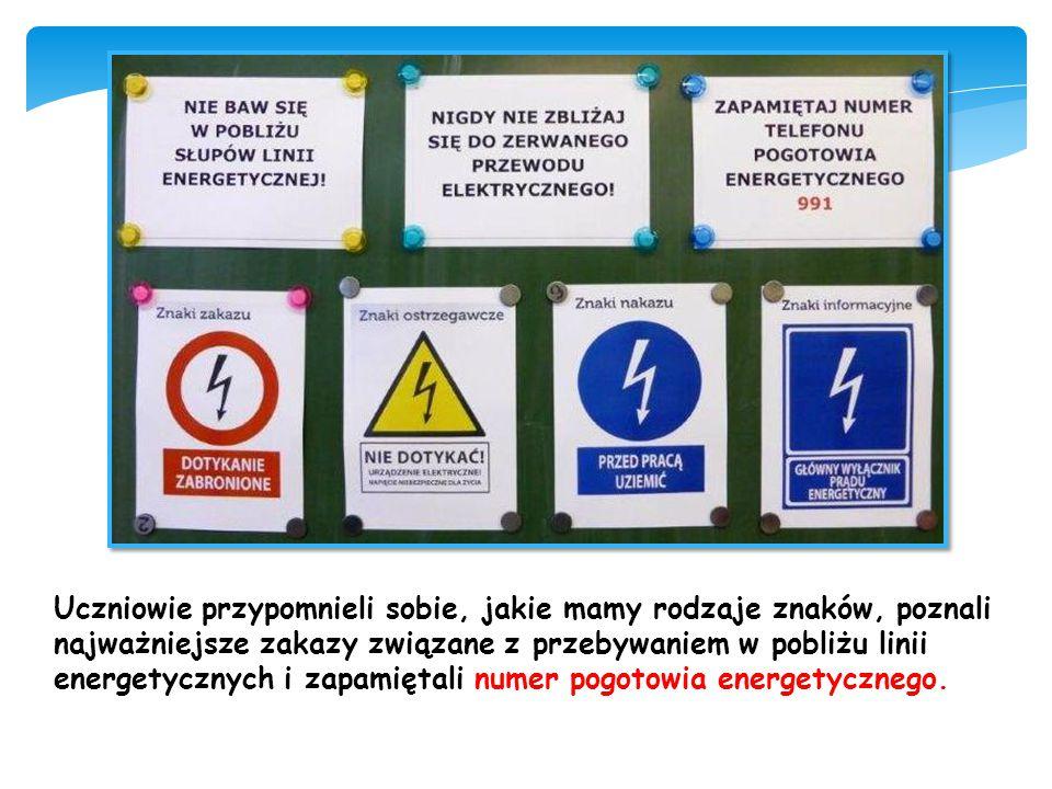 Uczniowie przypomnieli sobie, jakie mamy rodzaje znaków, poznali najważniejsze zakazy związane z przebywaniem w pobliżu linii energetycznych i zapamiętali numer pogotowia energetycznego.
