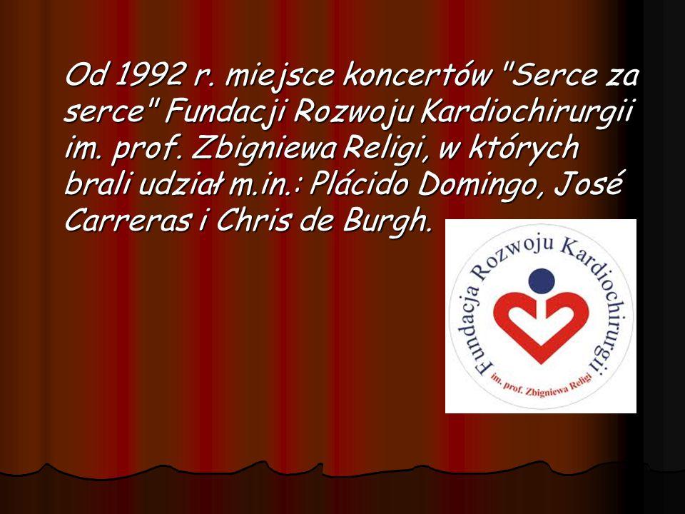 Od 1992 r. miejsce koncertów Serce za serce Fundacji Rozwoju Kardiochirurgii im.