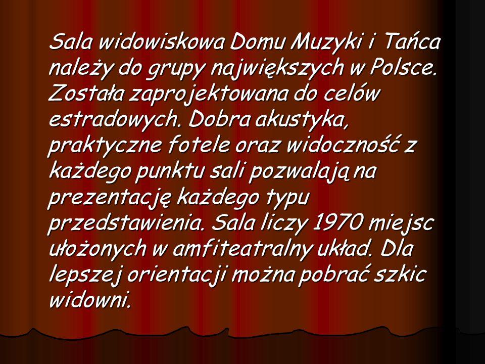 Sala widowiskowa Domu Muzyki i Tańca należy do grupy największych w Polsce.