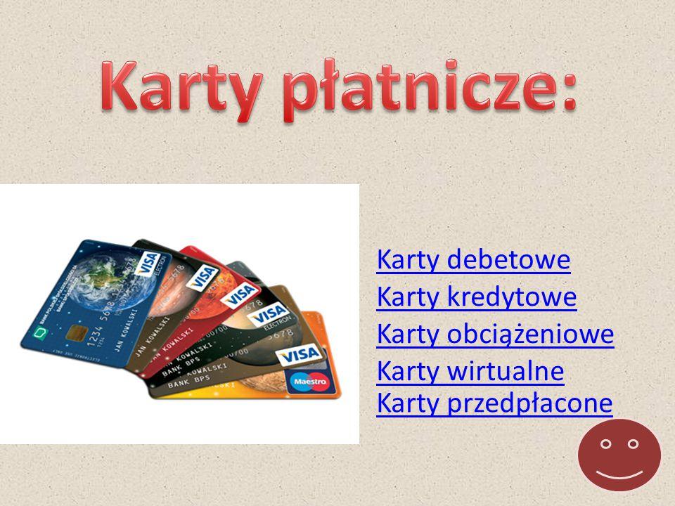 Karty płatnicze: Karty debetowe Karty kredytowe Karty obciążeniowe