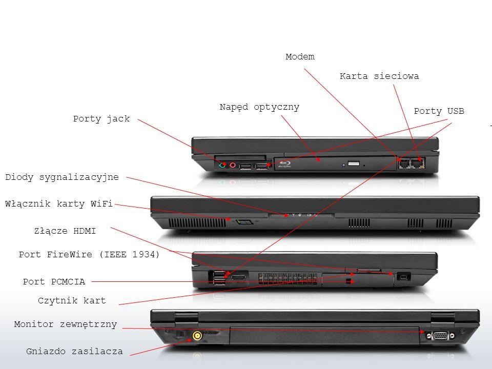 Modem Karta sieciowa. Napęd optyczny. Porty USB. Porty jack. Diody sygnalizacyjne. Włącznik karty WiFi.