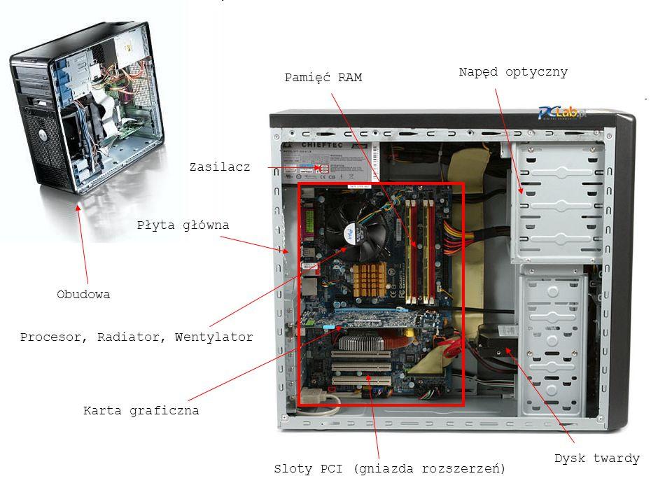 Napęd optyczny Pamięć RAM. Zasilacz. Płyta główna. Obudowa. Procesor, Radiator, Wentylator. Karta graficzna.