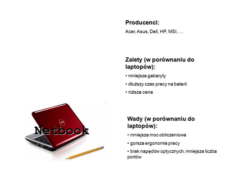Netbook Producenci: Zalety (w porównaniu do laptopów):