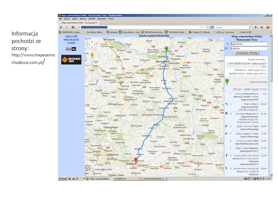 Informacja pochodzi ze strony: http://www.mapasamochodowa.com.pl/