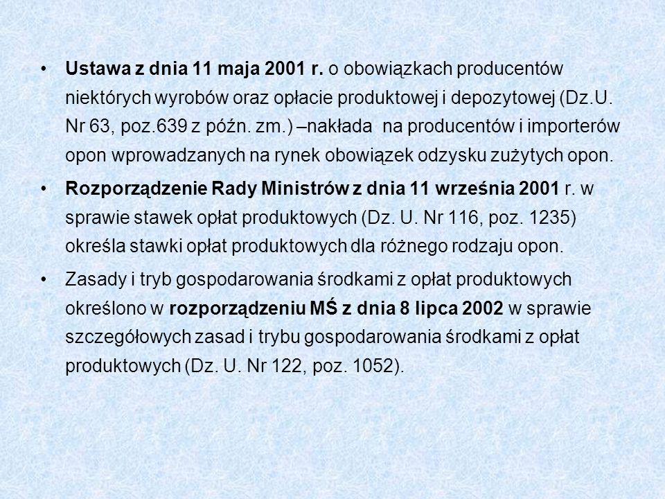 Ustawa z dnia 11 maja 2001 r. o obowiązkach producentów niektórych wyrobów oraz opłacie produktowej i depozytowej (Dz.U. Nr 63, poz.639 z późn. zm.) –nakłada na producentów i importerów opon wprowadzanych na rynek obowiązek odzysku zużytych opon.