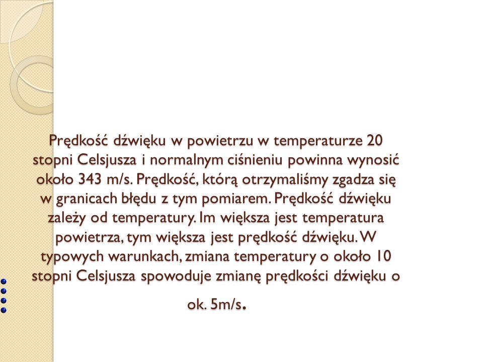 Prędkość dźwięku w powietrzu w temperaturze 20 stopni Celsjusza i normalnym ciśnieniu powinna wynosić około 343 m/s.