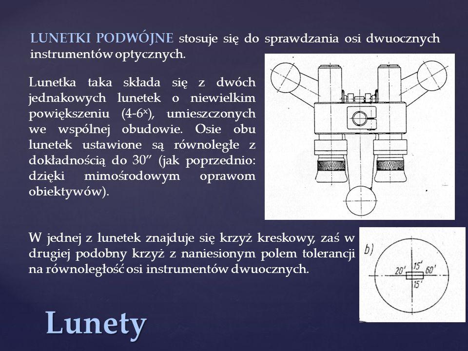 LUNETKI PODWÓJNE stosuje się do sprawdzania osi dwuocznych instrumentów optycznych.