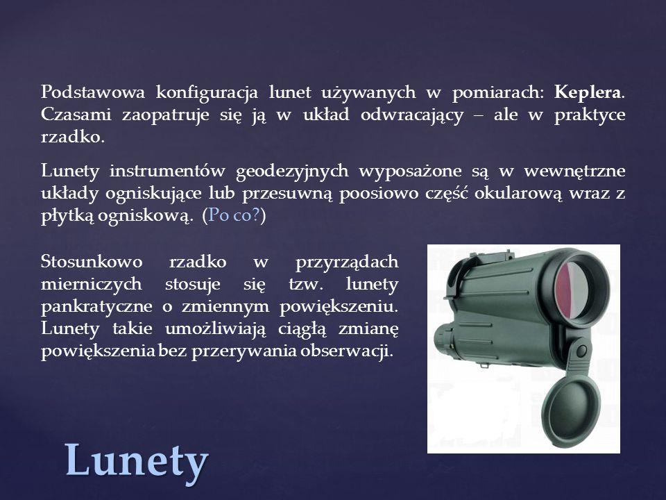 Podstawowa konfiguracja lunet używanych w pomiarach: Keplera