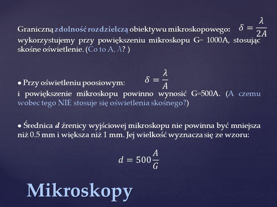 Mikroskopy 𝛿= 𝜆 2𝐴 𝛿= 𝜆 𝐴 𝑑=500 𝐴 𝐺