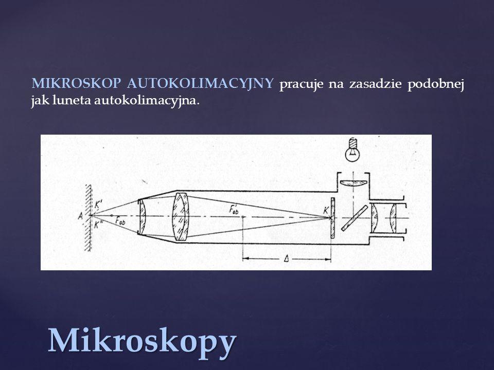 MIKROSKOP AUTOKOLIMACYJNY pracuje na zasadzie podobnej jak luneta autokolimacyjna.