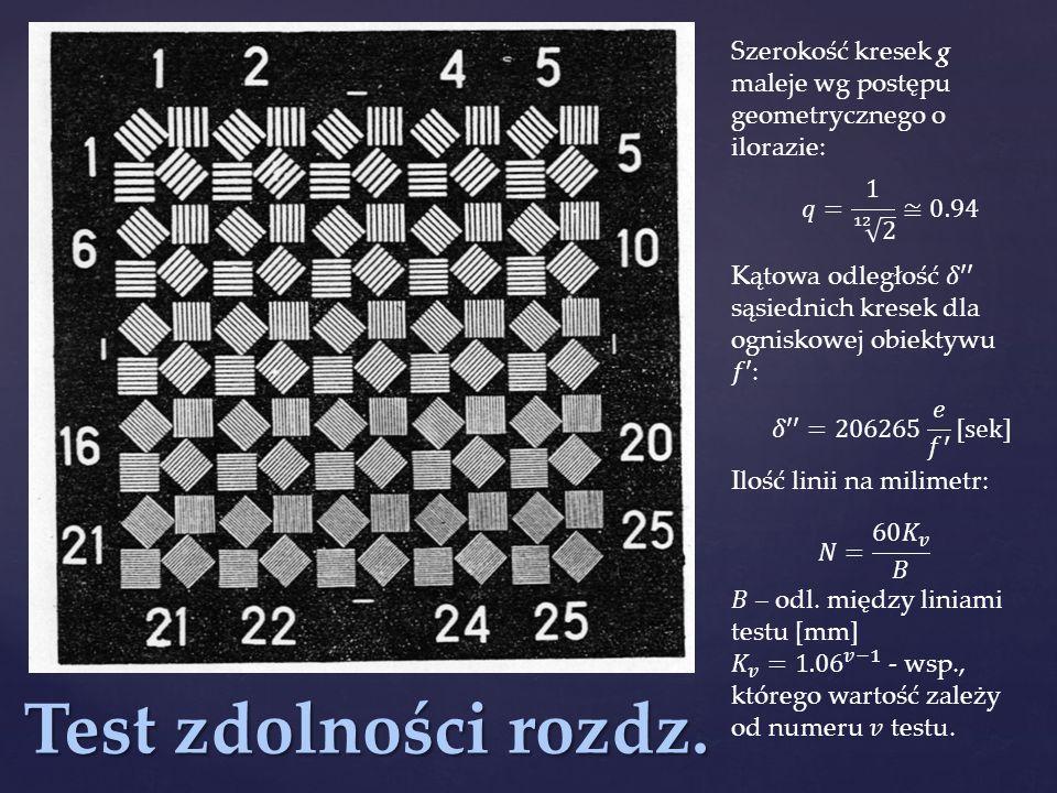 Szerokość kresek g maleje wg postępu geometrycznego o ilorazie: