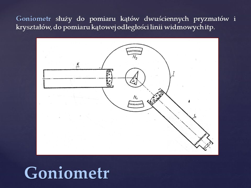 Goniometr służy do pomiaru kątów dwuściennych pryzmatów i kryształów, do pomiaru kątowej odległości linii widmowych itp.