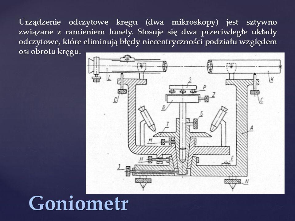 Urządzenie odczytowe kręgu (dwa mikroskopy) jest sztywno związane z ramieniem lunety. Stosuje się dwa przeciwległe układy odczytowe, które eliminują błędy niecentryczności podziału względem osi obrotu kręgu.