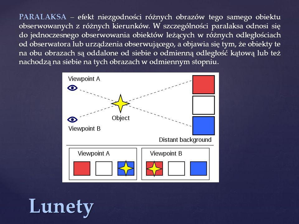PARALAKSA – efekt niezgodności różnych obrazów tego samego obiektu obserwowanych z różnych kierunków. W szczególności paralaksa odnosi się do jednoczesnego obserwowania obiektów leżących w różnych odległościach od obserwatora lub urządzenia obserwującego, a objawia się tym, że obiekty te na obu obrazach są oddalone od siebie o odmienną odległość kątową lub też nachodzą na siebie na tych obrazach w odmiennym stopniu.