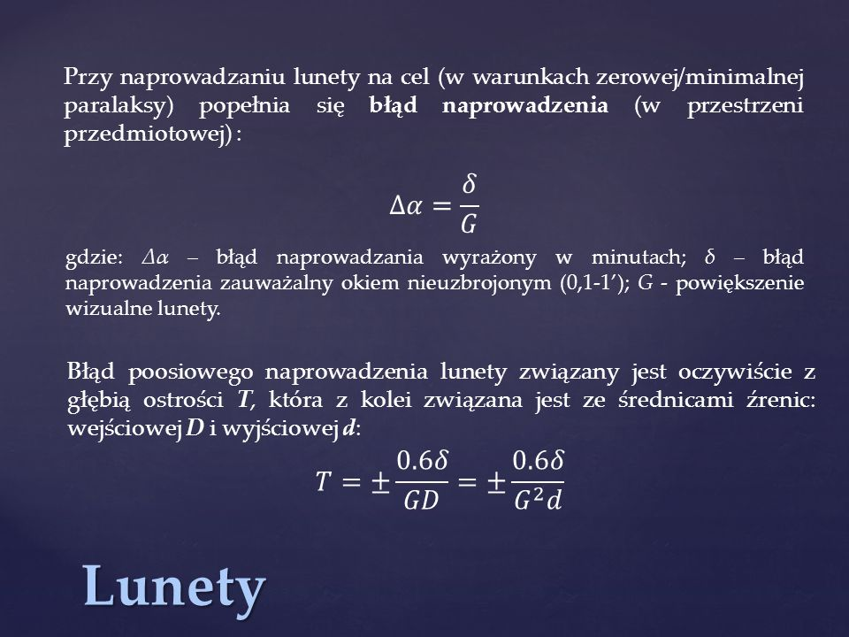 Lunety ∆𝛼= 𝛿 𝐺 𝑇=± 0.6𝛿 𝐺𝐷 =± 0.6𝛿 𝐺 2 𝑑