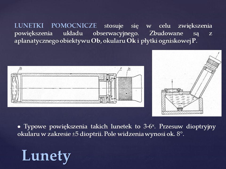 LUNETKI POMOCNICZE stosuje się w celu zwiększenia powiększenia układu obserwacyjnego. Zbudowane są z aplanatycznego obiektywu Ob, okularu Ok i płytki ogniskowej P.
