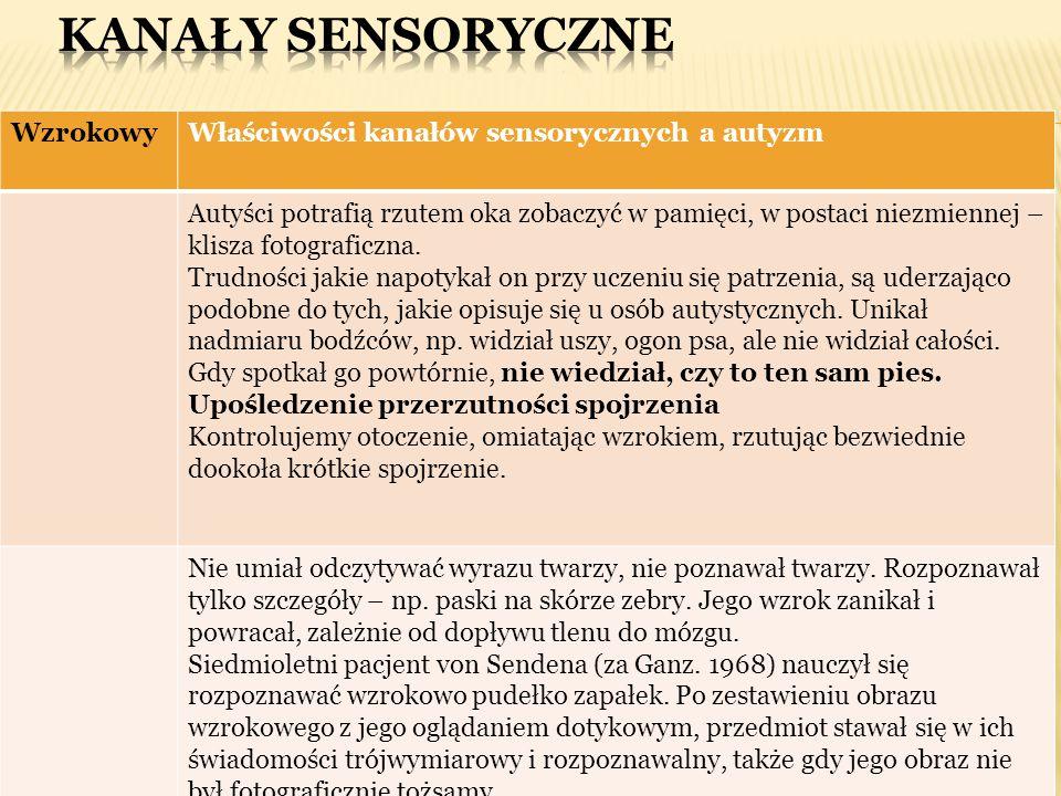 Kanały sensoryczne Wzrokowy Właściwości kanałów sensorycznych a autyzm