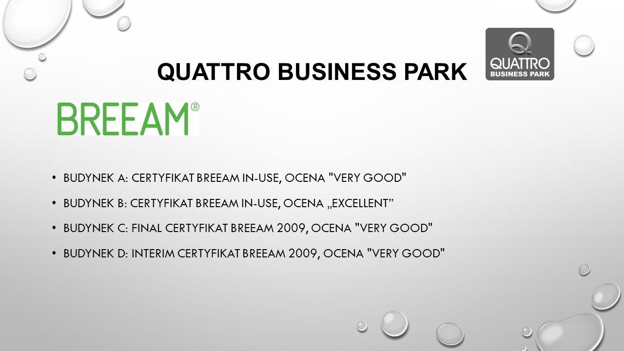 "Quattro Business Park Budynek A: certyfikat Breeam In-Use, OCENA Very good Budynek B: certyfikat Breeam In-Use, ocenA ""Excellent"
