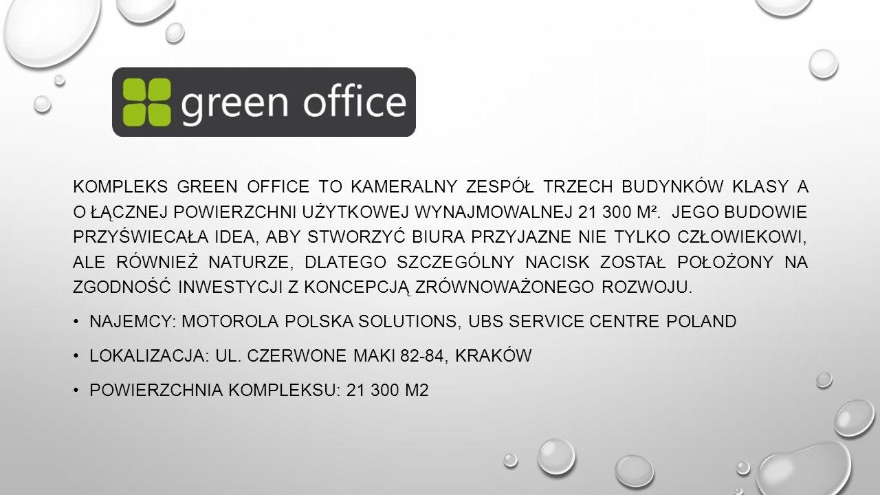Kompleks Green Office to kameralny zespół trzech budynków klasy A o łącznej powierzchni użytkowej wynajmowalnej 21 300 m². Jego budowie przyświecała idea, aby stworzyć biura przyjazne nie tylko człowiekowi, ale również naturze, dlatego szczególny nacisk został położony na zgodność inwestycji z koncepcją zrównoważonego rozwoju.
