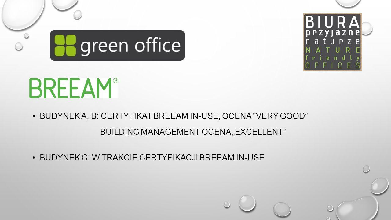 Budynek A, B: certyfikat Breeam In-Use, OCENA Very good