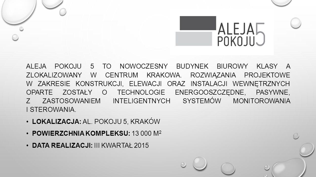 Aleja Pokoju 5 to nowoczesny budynek biurowy klasy A zlokalizowany w centrum Krakowa. Rozwiązania projektowe w zakresie konstrukcji, elewacji oraz instalacji wewnętrznych oparte zostały o technologie energooszczędne, pasywne, z zastosowaniem inteligentnych systemów monitorowania i sterowania.