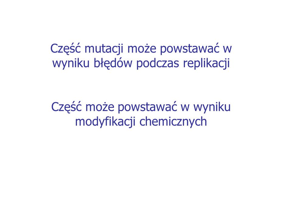 Część mutacji może powstawać w wyniku błędów podczas replikacji
