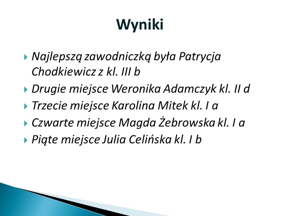 Wyniki Najlepszą zawodniczką była Patrycja Chodkiewicz z kl. III b