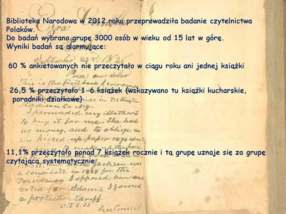 Biblioteka Narodowa w 2012 roku przeprowadziła badanie czytelnictwa Polaków.