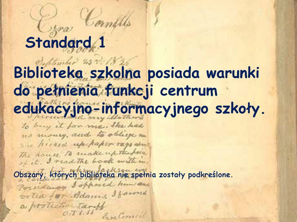 Standard 1 Biblioteka szkolna posiada warunki do pełnienia funkcji centrum edukacyjno-informacyjnego szkoły.