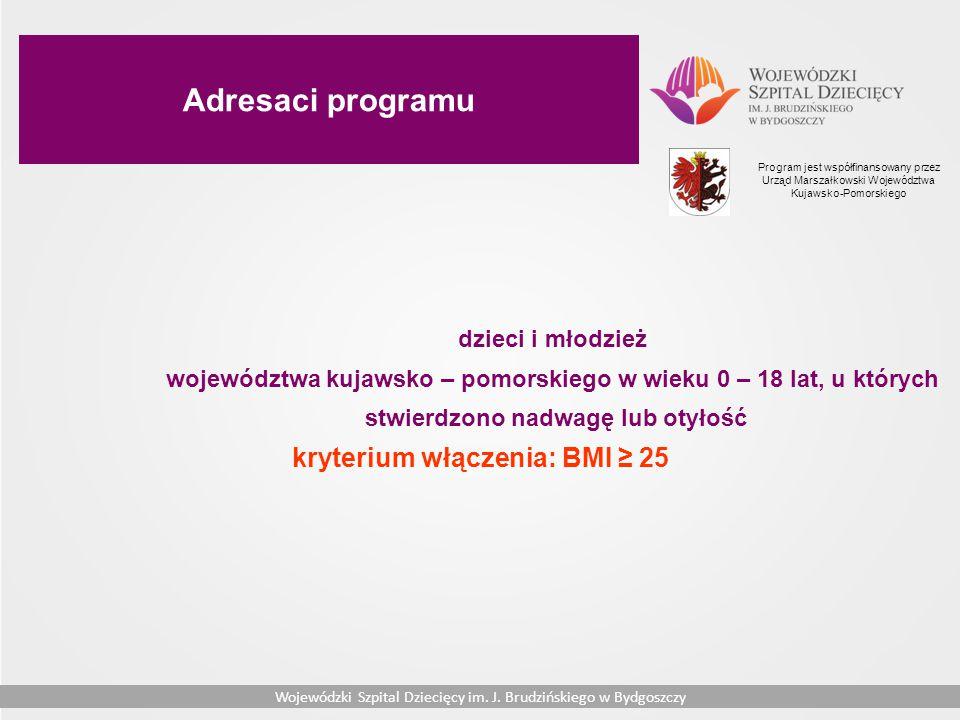 Adresaci programu kryterium włączenia: BMI ≥ 25 dzieci i młodzież